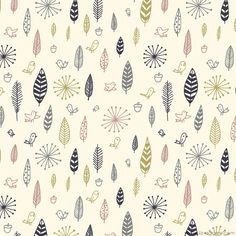 birds and feathers fabric ~Liz Adams #surfacedesign