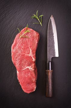 #Organic steak with knife.