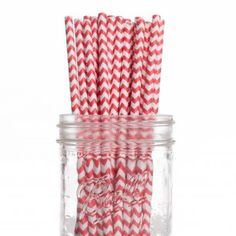 Vintage Paper Drinking Straws - Red Chevron Paper Straws (25/Pack)