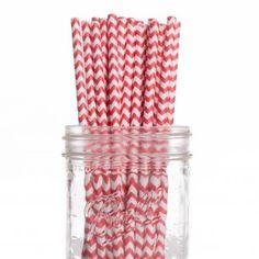 Vintage Paper Drinking Straws - Red Chevron Paper Straws (25/Pack)