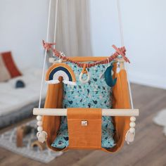 """Baby free motion swing """"PAINTS"""", snuggle baby nest, porch fabric swing, wooden hammock chair for toddlers and kids, newborn lounger Hanging Cradle, Hanging Swing Chair, Swinging Chair, Indoor Hammock, Hammock Swing, Hammock Chair, Wooden Hammock, Wooden Swings, Swing Painting"""