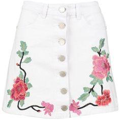 Boohoo Beth Embroidered Button Through Denim Skirt ($30) ❤ liked on Polyvore featuring skirts, bottoms, maxi skirts, denim mini skirt, pleated midi skirt, white denim skirt and knee length denim skirt