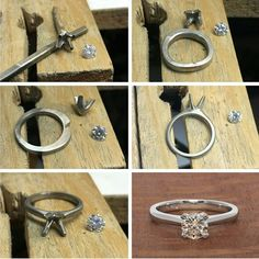 From the workshop creating a solitaire diamond engagement ring. Congratulations on your engagement Blake and Taya! Diamond Solitaire Rings, Diamond Wedding Rings, Diamond Engagement Rings, Stone Jewelry, Metal Jewelry, Jewelry Rings, Jewellery, How To Make Rings, Gold And Silver Rings