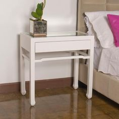 #WorldsAway #Nightright White Side Table complements many types of beds from canopy to sleigh!  www.worlds-away.com