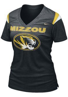 15. Missouri Tigers Womens Black Replica Football T-Shirt @Cathy Ensley Hamilton House