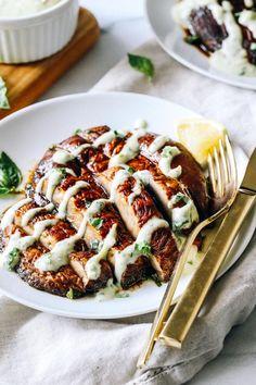 Portobello Steaks with Pesto Aioli - Making Thyme for Health