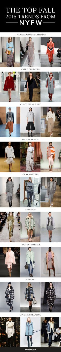 The Top Fall 2015 Trends From New York Fashion Week - - New York Fashion Week has come and gone leaving hundreds of runway looks and limitless street style inspiration in its wake. That's a lot to take in. Fall 2015 Trends, 2015 Fashion Trends, Fashion Week 2015, Fashion Moda, Look Fashion, Fashion Show, Runway Fashion, New York Fashion, Mode Inspiration