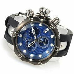 Invicta Reserve 54mm Venom Swiss Quartz Chronograph Polyurethane Strap Watch w/ One-Slot Dive Case