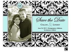 Black and white damask marriage announcement