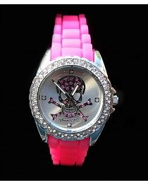Skull Watch Neon Pink
