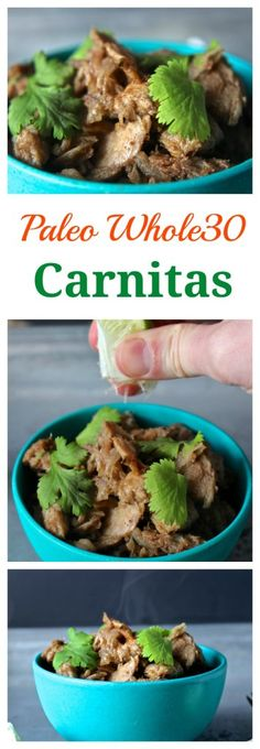 Paleo Whole30 Carnitas- these 6 ingredient carnitas are packed with flavor and simple to make! #paleo #whole30