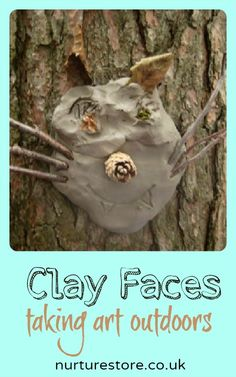 A fantastic outdoor art idea that makes great use of loose parts found in a forest: clay faces on tree trunks!