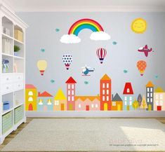 Stadt Wandtattoo, Wandtattoo Kinderzimmer, Baby Wandtattoo, Kinder Wandtattoo, W… - Kids playroom ideas Baby Wall Decals, Wall Decals For Bedroom, Vinyl Wall Decals, Sticker Mural, Kids Room Paint, School Decorations, Kids Bedroom, Baby Bedroom, Bedroom Ideas