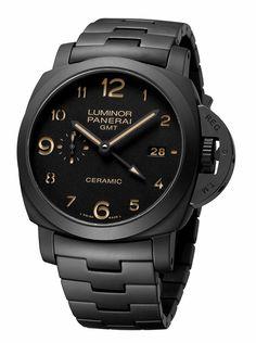 Panerai Luminor GMT Black Dial Black Ceramic Mens Watch PAM00438