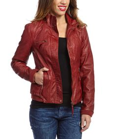 Another great find on #zulily! Garnet Faux Leather Jacket by Montanaco #zulilyfinds