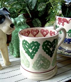 Emma Bridgewater Gypsy Hearts 0.5 Pint Mug SAMPLE with 21 Years of EB back stamp 2006