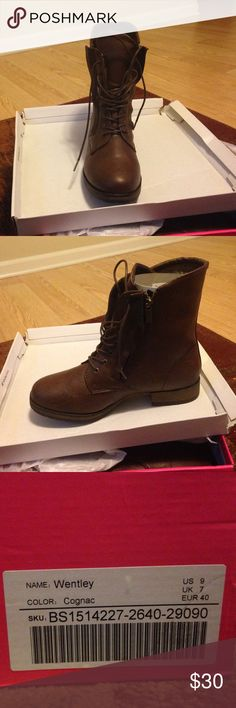 Cognac colored lace up boot. NEVER WORN Lace up boot, never worn Shoes Lace Up Boots