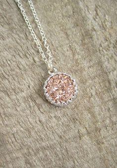 Rose Gold Druzy Halskette Titan Druzy Quartz von julianneblumlo