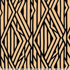 Black Abstract Lines on Taupe Cotton Jersey Blend Knit Fabric