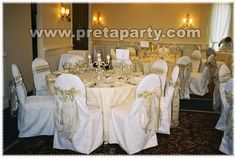 White satin chair covers with sash bow Chair Covers, Seat Covers, White Satin, Party Party, Sash, Party Supplies, Bows, Table Decorations, Elegant