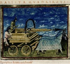 Cosmographia Scoti, Notitia dignitatum. Etc.  Country or nationality of origin: Italian and French. Place of origin:  Basel. Date: Dated 1436. Image description:  Ballista quadrirotis. Four-wheeled engine drawn by two horses, and capable of shooting spears. Springald. Medieval Imago & Dies Vitae Idade Media e Cotidiano