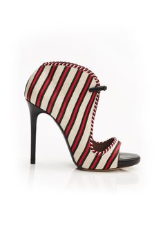 Dusty by Tabitha Simmons: Closed back sandal bootie with super skinny set back heel in linee silk cricket stripe.