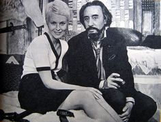 Jean Seberg & Romain Gary; Fitted and tipped short sleeve cardigan with black belted skirt