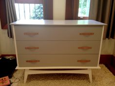 Up-cycled chest of drawers with leather handles