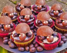 Chocolate turtle muffins with Ü eggs - Essen :) - No Bake Treats, No Bake Cookies, Cake Cookies, No Bake Cake, Chocolate Turtles, Chocolate Lovers, Chocolate Chips, Food Art For Kids, Themed Cupcakes
