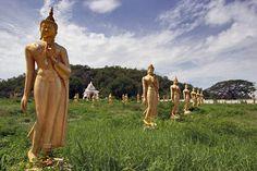 Buddhas disintegrating in a field at Hua Hin, Thailand. From @Barbara Acosta Acosta Acosta Weibel