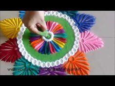 Creative and Beautiful Multicolored Rangoli Designs# Easy Rangoli by Shital Mahajan. Small Rangoli Design, Colorful Rangoli Designs, Rangoli Designs Diwali, Diwali Rangoli, Beautiful Rangoli Designs, Indian Rangoli, Flower Rangoli, Peacock Rangoli, Latest Rangoli