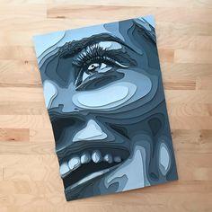 Layered Paper Portraits by Shelley Castillo Garcia - Inspiration Grid Monochromatic Art, Art Alevel, Cardboard Art, Paper Illustration, Paper Artwork, Identity Art, Kirigami, Diy Canvas Art, Stencil Art