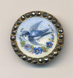 Hand painted bluebird button.