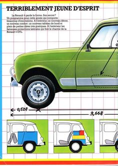 R4 French Classic, Classic Cars, Retro Cars, Vintage Cars, Automobile, Fiat Cars, Matchbox Cars, City Car, Car Advertising