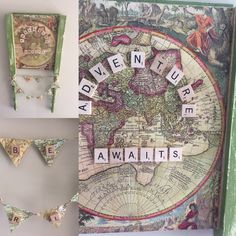 Inspiration using furniture salvage, vintage maps and a Scrabble Tiles. Available from Batterupcycle on Etsy.