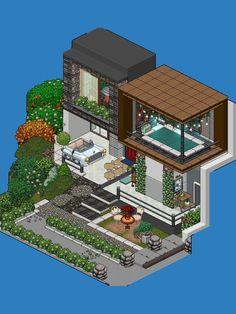 Habbo Pixel, Pixel Art, Modern Apartment Design, Modern House Design, Crazy Wallpaper, Minecraft Room, Model House Plan, Isometric Art, Gaming Room Setup