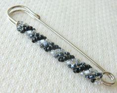Black and Grey Decorative Safety Pin Brooch Knit Scarf Brooch Pin Hat Pin Winter Kilt Pin Seed Bead Brooch Beaded Shawl Pin