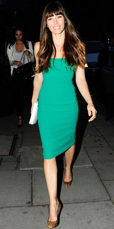 Jessica Biel exited a London restaurant in a green sheath, leather clutch and leopard print pumps.