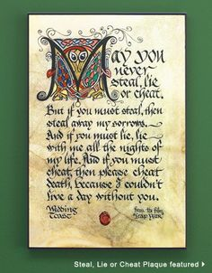 celtic wedding ideas | Steal, Lie or Cheat Plaque | Celtic/Irish wedding ideas