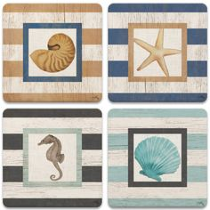 Beach Life on Stripes Beverage Coasters