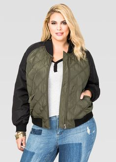 d6efb207226 Quilted Two-Tone Bomber Jacket Quilted Two-Tone Bomber Jacket Plus Size  Bomber Jacket. Ashley Stewart
