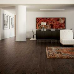 Photo features Ebano 6 x 24 field tile on the floor.