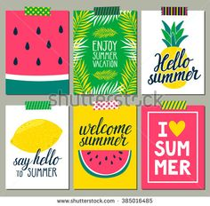 Vector set of bright summer cards. Beautiful summer posters with pineapple, watermelon, lemon, palm leaves and hand written text. Journal cards. - stock vector