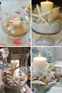 Decoración con velas y conchas. Ideal para centros de mesa.