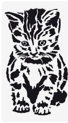 Textile / Wall Stencil Template ca. Animal Stencil, Stencil Art, Stencil Printing, Stenciling, Kirigami, Silhouette Projects, Silhouette Design, Cat Silhouette, Wood Burning Patterns