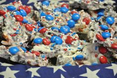 4th of July Cookie Bark. Perfert desert, so addicting and the colors are festive and double as decor!