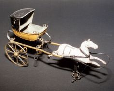 A single horse-drawn gig. Children's toy, ca. 1860