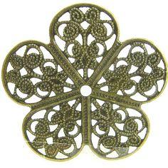 Bronze plated flower sheet metal pendant - filigree stamping 38mm 10PCS 1-21-31