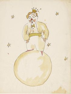 Author Antoine Saint-Exupery was French, but his beloved book, The Little Prince, wasn't written in Paris. Saint-Exupery wrote it in New York, and even included references to the island in his original manuscript. Prince Drawing, Beloved Book, The Little Prince, Watercolor Drawing, Illustration Sketches, Book Illustrations, Original Artwork, Whimsical, Saints