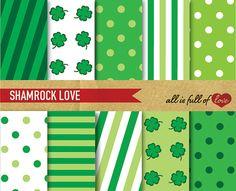 Digital Paper Pack SHAMROCK LOVE St Patricks Day by AllFullOfLove, $3.50